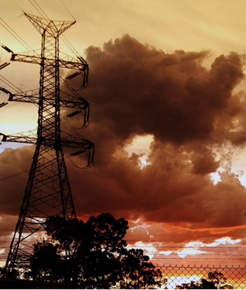 Queensland power grid with orange sky